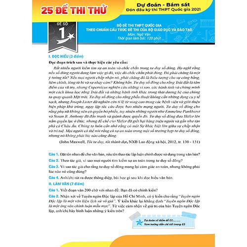 Mega 2021 - Siêu Luyện Đề 9+ THPT Quốc Gia 2021 Môn Văn Học - Ảnh 6