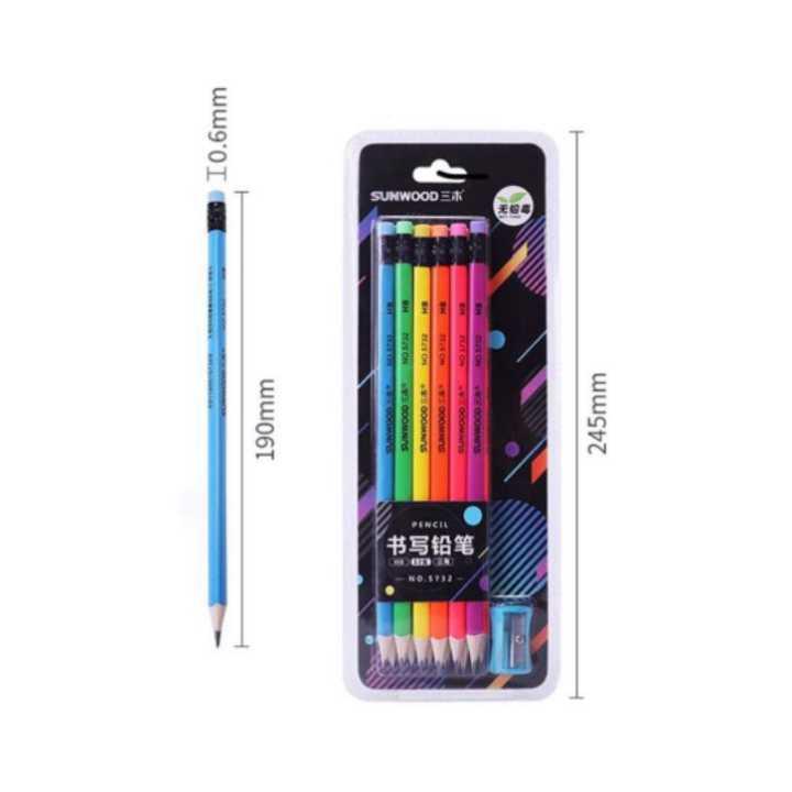 Bút chì đen thân gỗ nhiều màu sunwood 5832 (12 Cây) - Ảnh 3