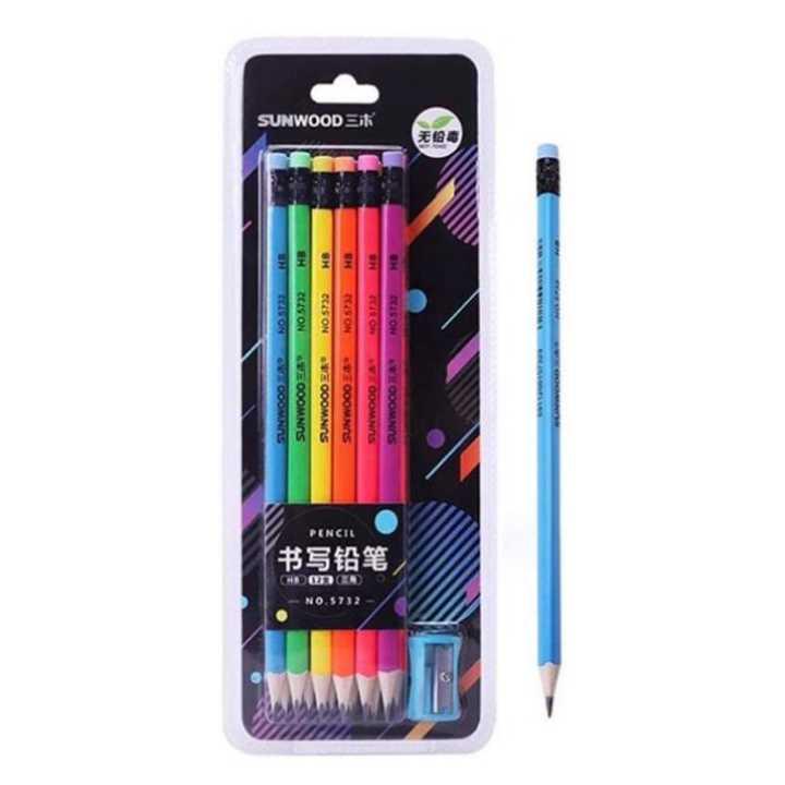 Bút chì đen thân gỗ nhiều màu sunwood 5832 (12 Cây)