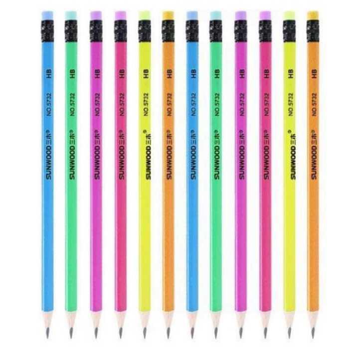 Bút chì đen thân gỗ nhiều màu sunwood 5832 (12 Cây) - Ảnh 1