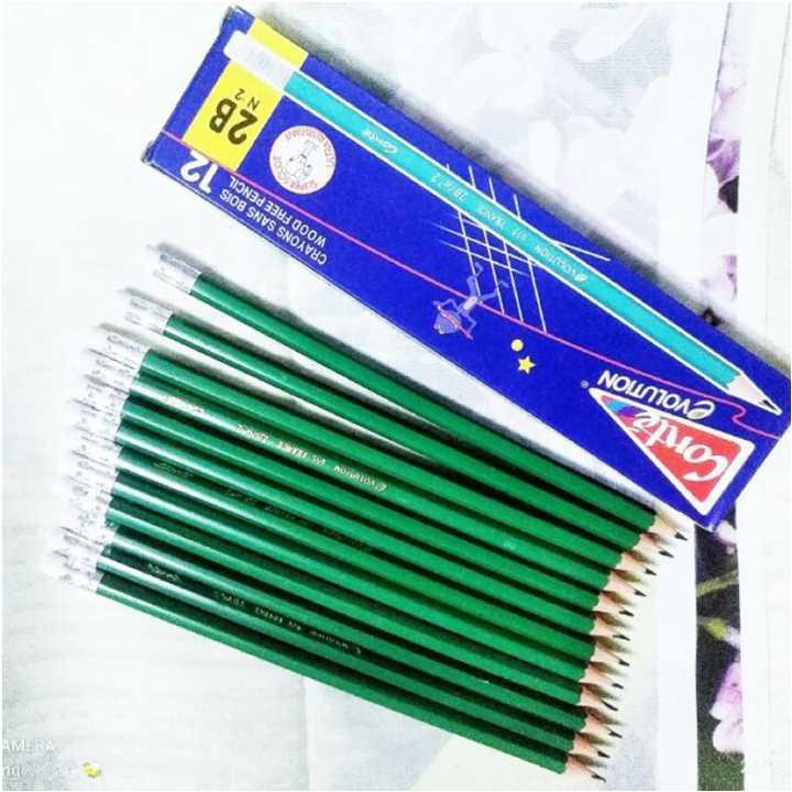 Bút chì pháp Conte 2B,HB có tẩy Hộp 12 chiếc - Ảnh 1