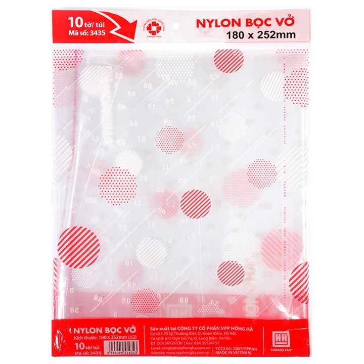 Bọc vở nylon cấp II Hồng Hà 3435 (180x252mm) tập 10 chiếc - Ảnh 1