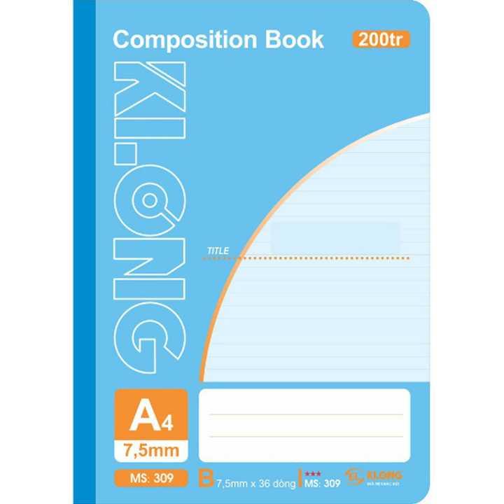 Sổ may dán gáy Klong A4 - 200 trang; Ms 309